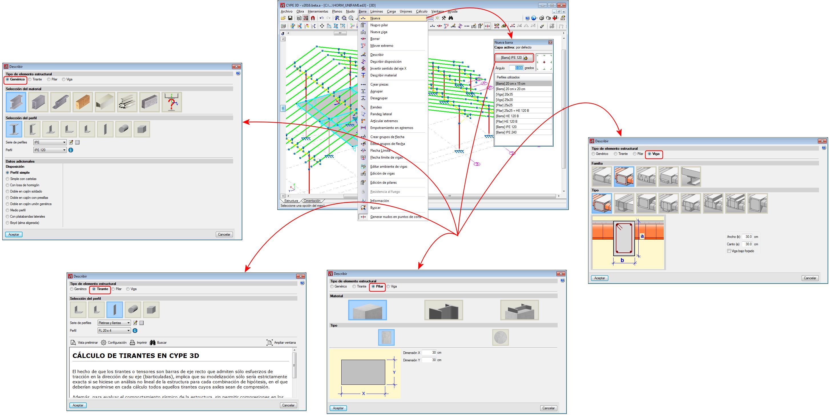 Cálculo de estructuras 3D con barras de madera, acero, aluminio o de ...