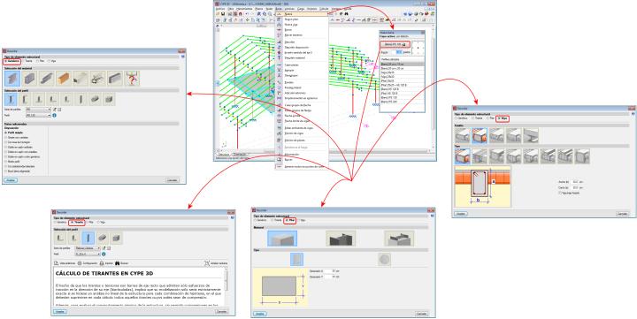 CYPE 3D. Tipos de elementos estructurales